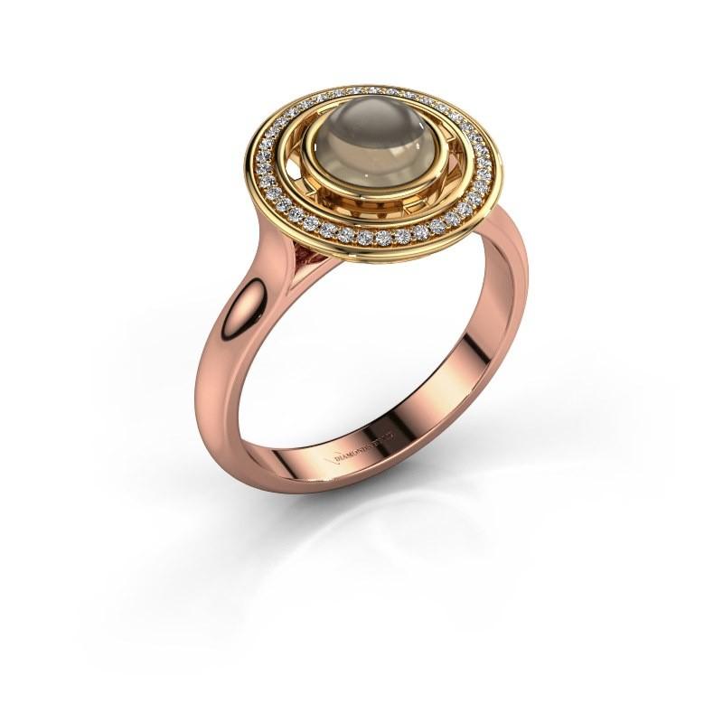 Ring Salima 585 rosé goud rookkwarts 6 mm