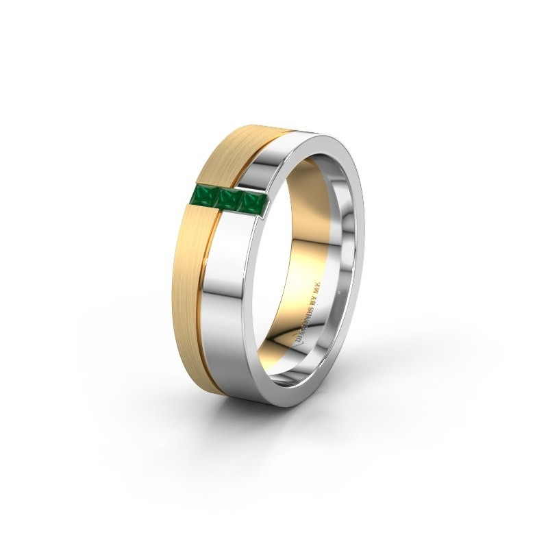 Wedding ring WH0906L16A 585 white gold emerald ±6x1.7 mm