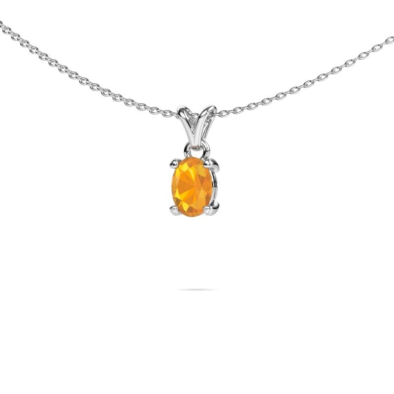 Ketting Lucy 1 585 witgoud citrien 7x5 mm