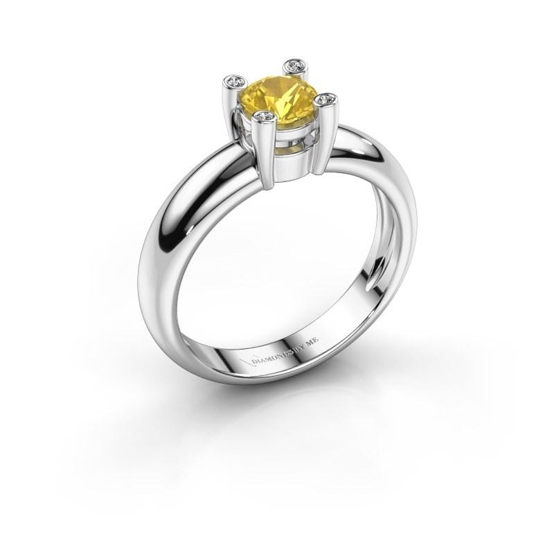 Ring Fleur 585 witgoud gele saffier 4.7 mm