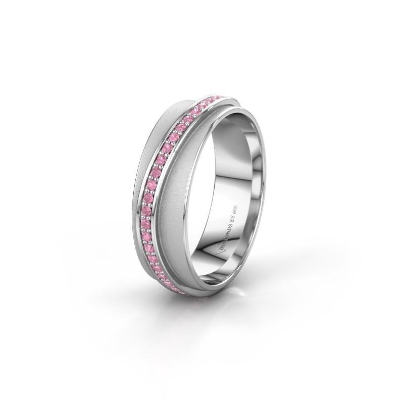 Huwelijksring WH2126L 585 witgoud roze saffier ±6x1.7 mm
