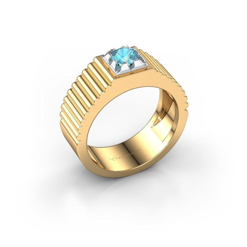 Pink ring Elias 585 goud blauw topaas 5 mm