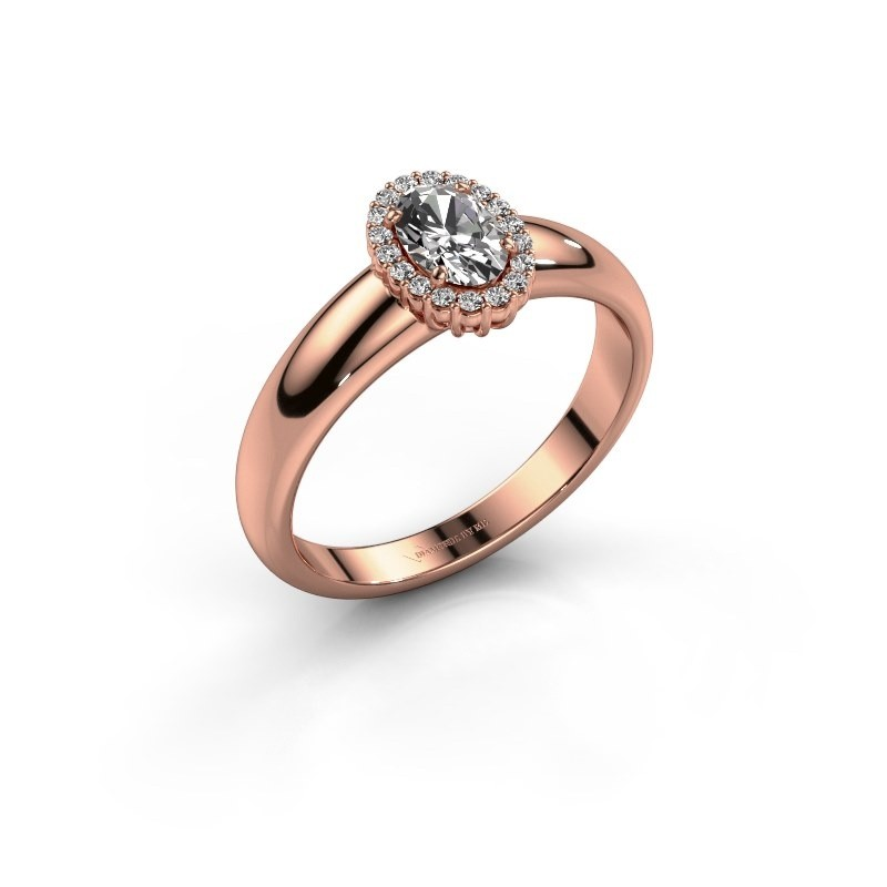 Engagement ring Tamie 375 rose gold zirconia 6x4 mm