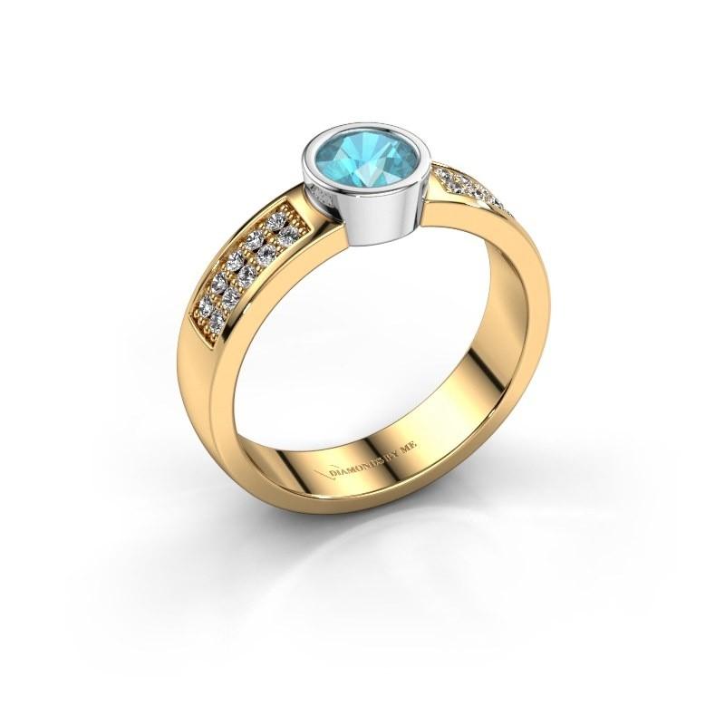 Verlovingsring Ise 3 585 goud blauw topaas 4.7 mm