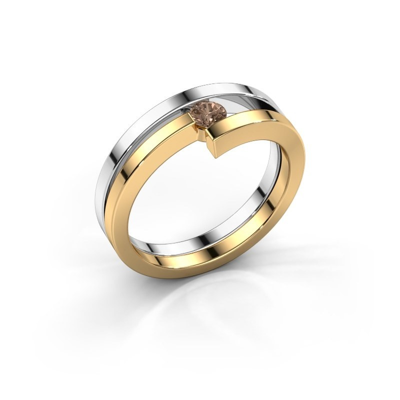 Ring Nikia 585 witgoud bruine diamant 0.15 crt