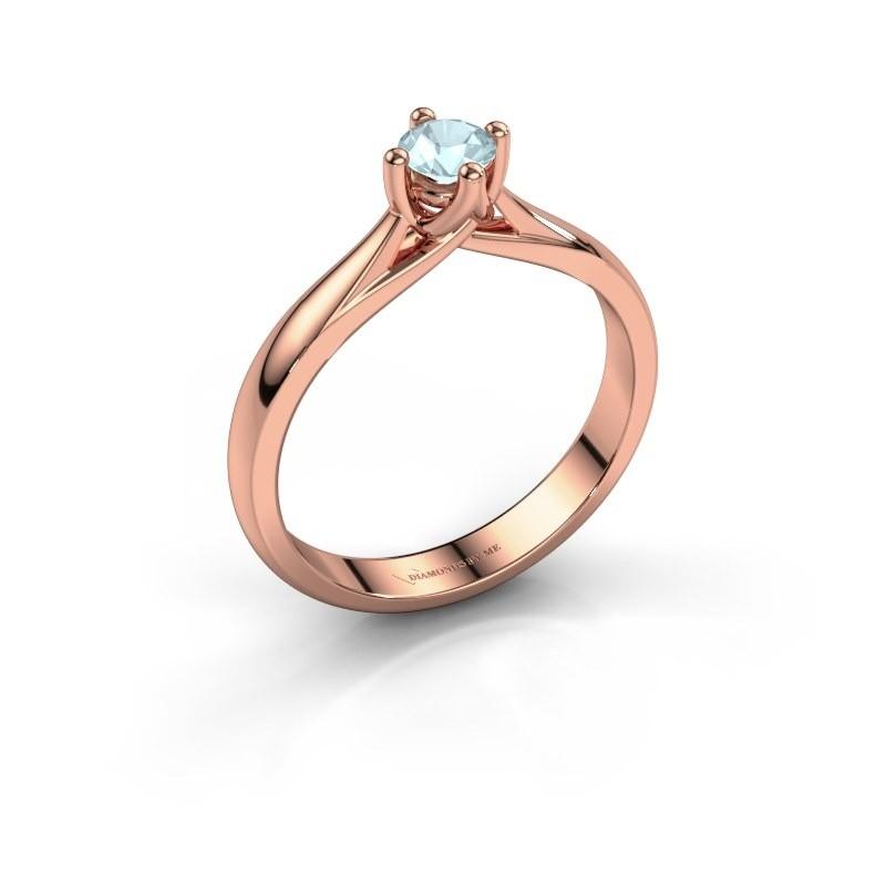 Engagement ring Janne 375 rose gold aquamarine 4.2 mm