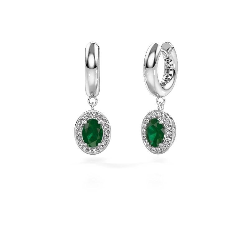 Oorhangers Annett 375 witgoud smaragd 7x5 mm