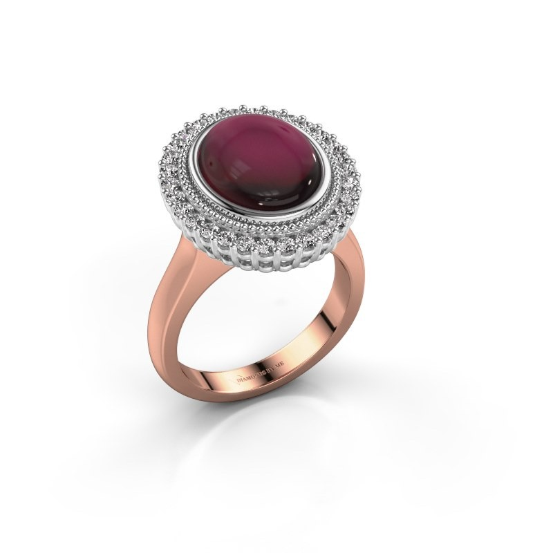 Ring Mila 585 rosé goud granaat 12x10 mm