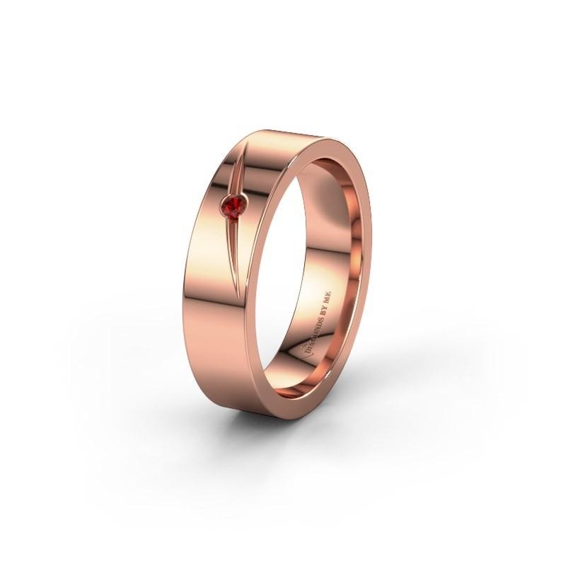 Trouwring WH0170L15A 375 rosé goud granaat ±5x1.7 mm
