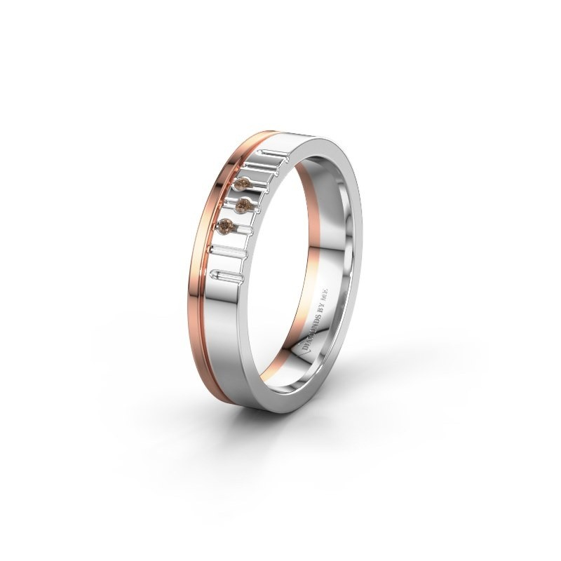 Friendship ring WH0332L14X 585 white gold brown diamond ±4x1.5 mm