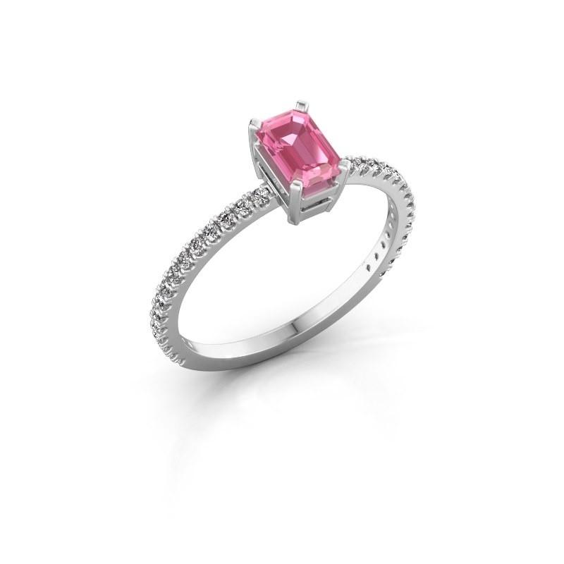 Verlobungsring Denita 2 925 Silber Pink Saphir 6x4 mm