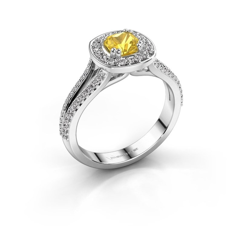 Engagement ring Carolina 2 585 white gold yellow sapphire 5 mm
