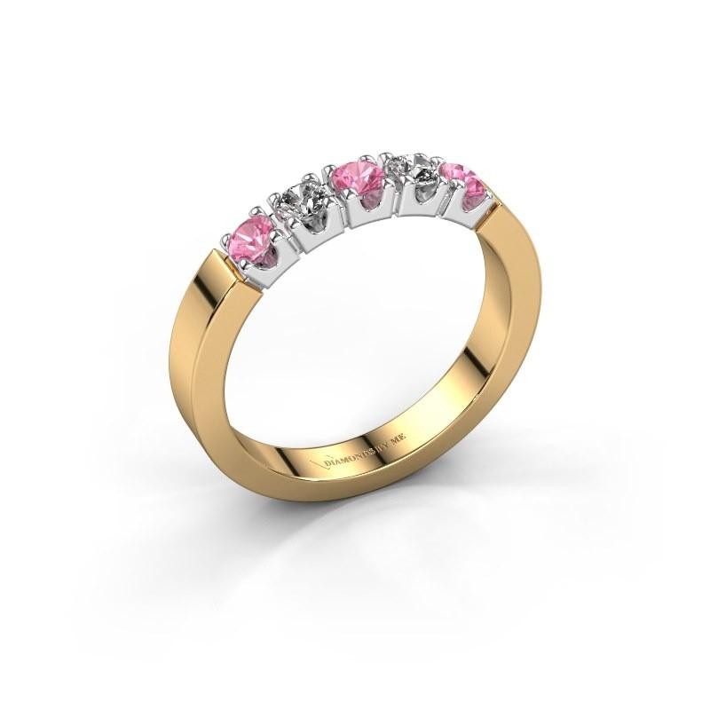 Verlobungsring Dana 5 585 Gold Pink Saphir 3 mm