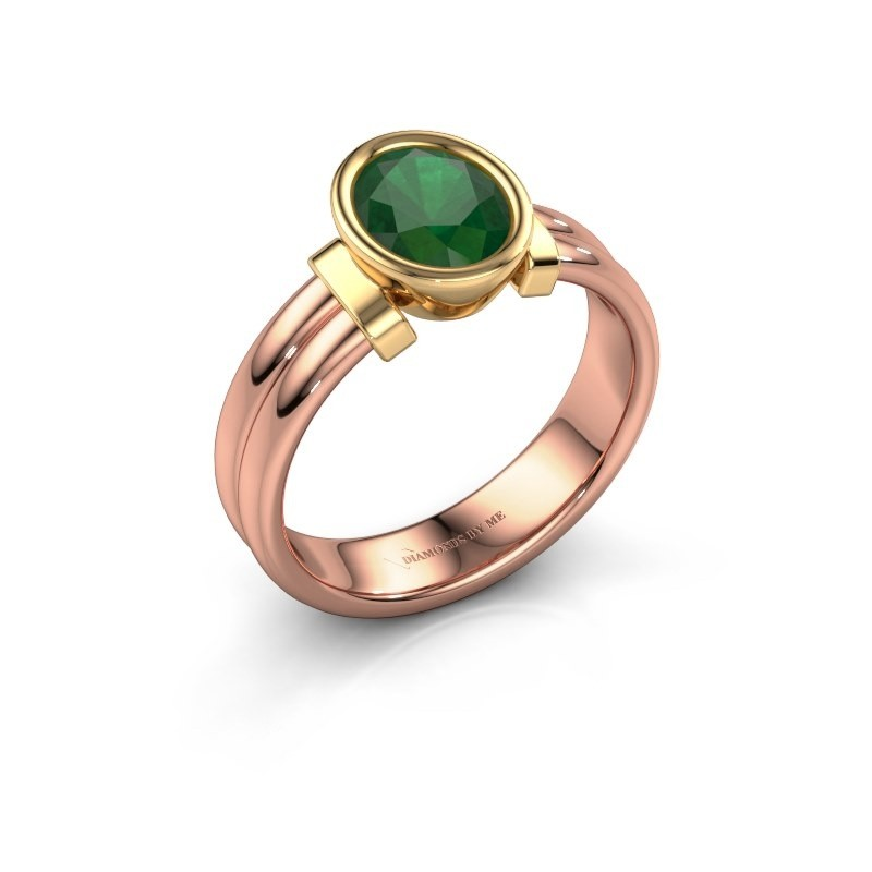 Ring Gerda 585 rose gold emerald 8x6 mm