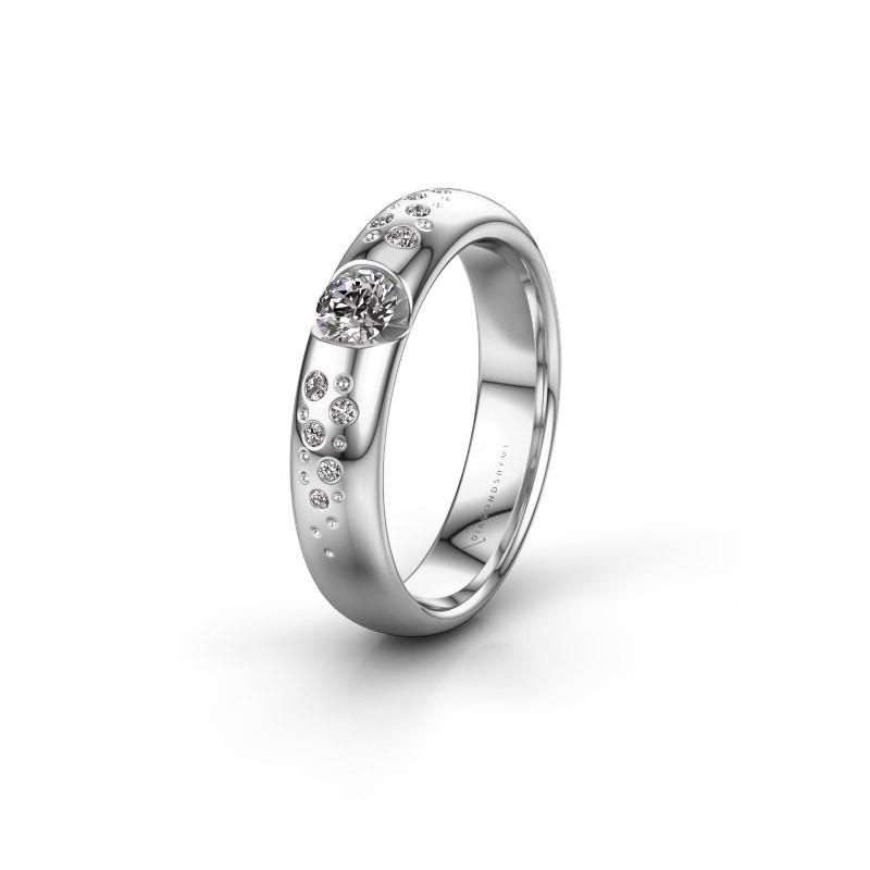 Trouwring WH2104L34A 950 platina diamant ±4,5x1.7 mm