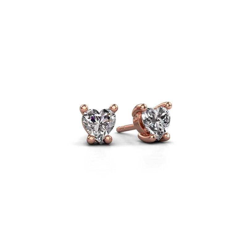 Oorbellen Sam Heart 375 rosé goud lab-grown diamant 0.50 crt