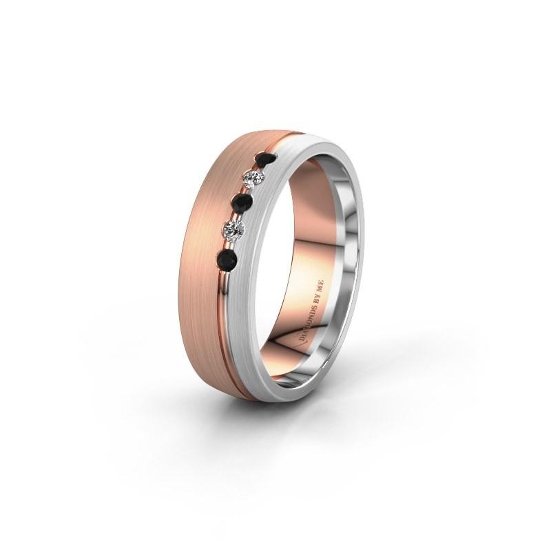 Trouwring WH0323L25AM 585 rosé goud zwarte diamant ±6x1.7 mm