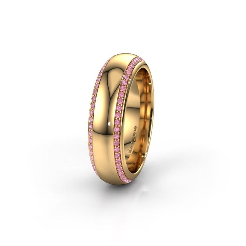 Trouwring WH6132L36C 375 goud roze saffier ±6x2.2 mm