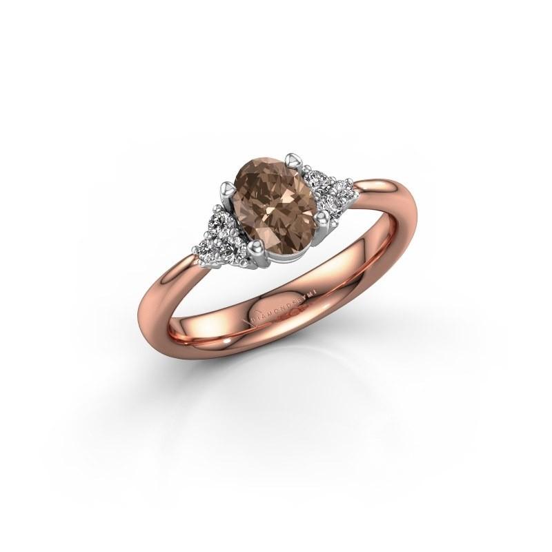 Verlovingsring Aleida OVL 1 585 rosé goud bruine diamant 0.93 crt