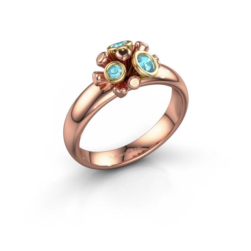 Ring Pameila 585 rosé goud blauw topaas 2 mm