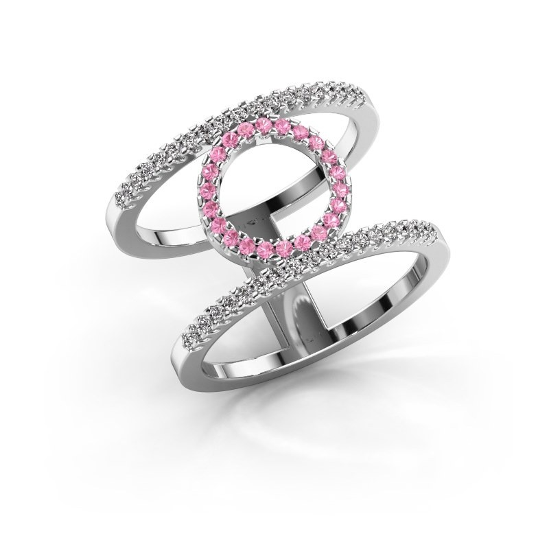 Ring Latoria 2 950 platina roze saffier 1.1 mm