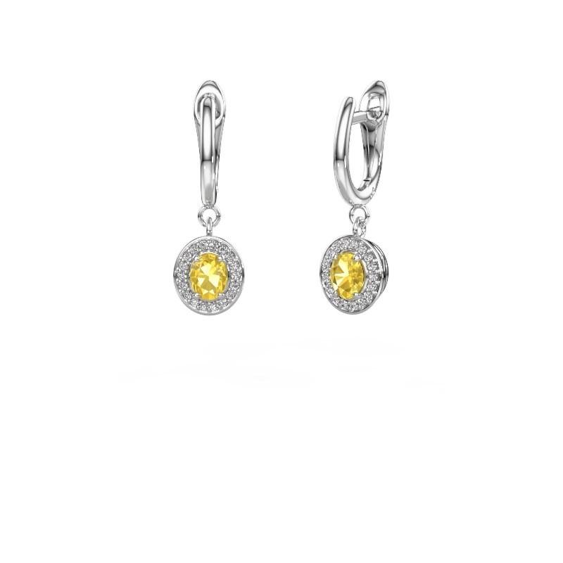 Drop earrings Nakita 950 platinum yellow sapphire 5x4 mm