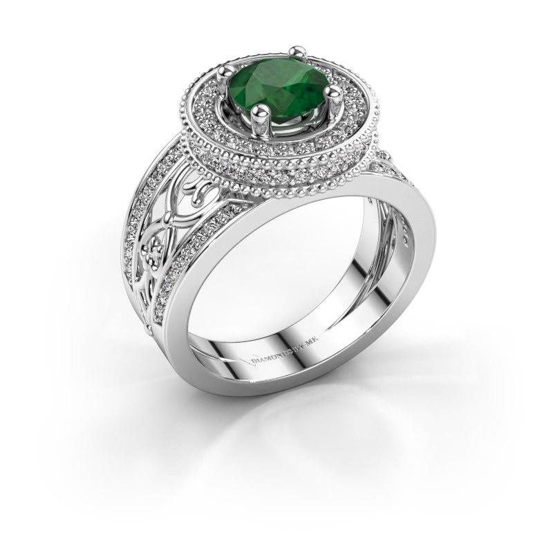 Ring Joy 585 white gold emerald 6.5 mm