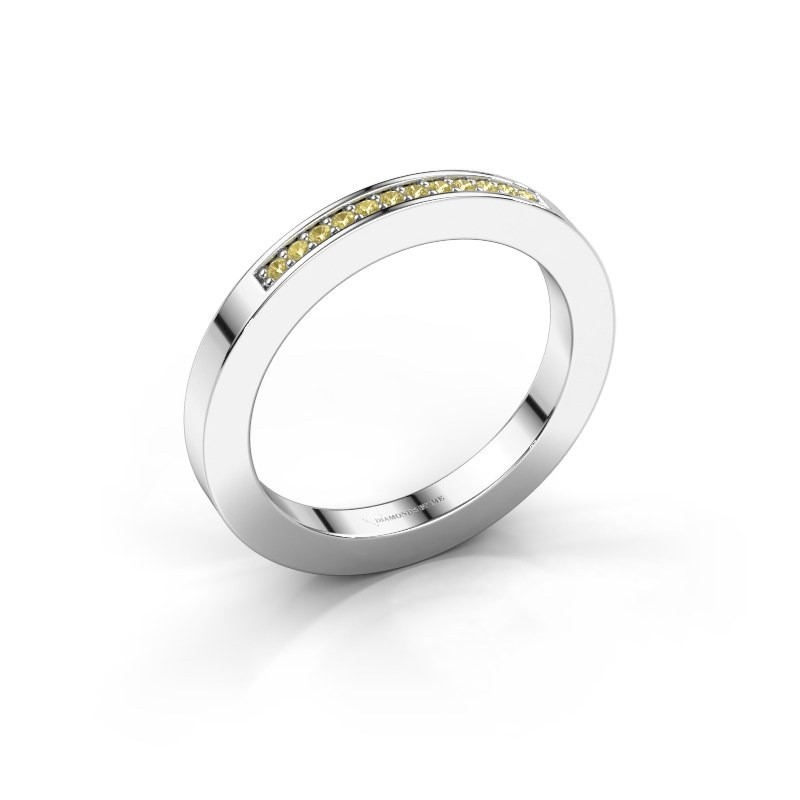 Stackable ring Loes 1 585 white gold yellow sapphire 1.1 mm