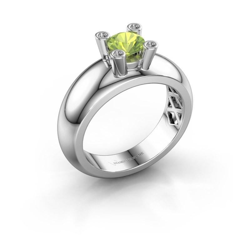 Ring Cornelia Round 585 white gold peridot 5 mm