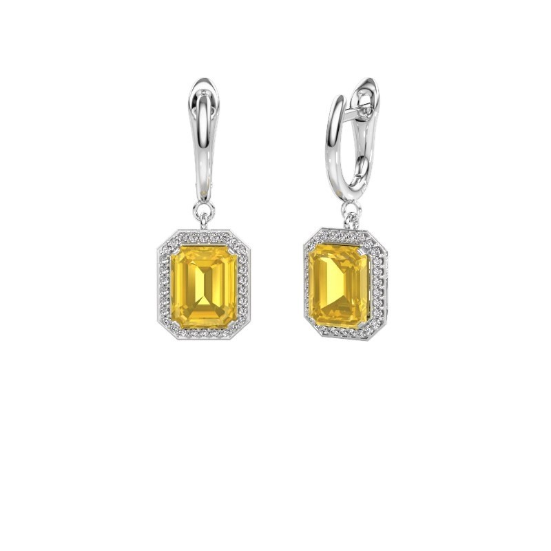 Drop earrings Dodie 1 585 white gold yellow sapphire 9x7 mm