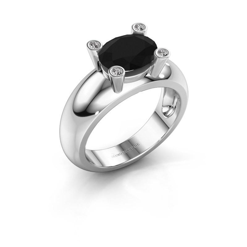 Ring Tamara OVL 585 witgoud zwarte diamant 2.16 crt