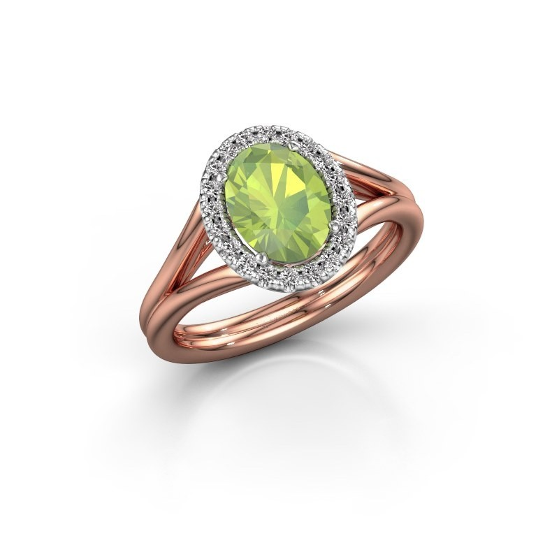 Engagement ring Rachele 1 585 rose gold peridot 8x6 mm