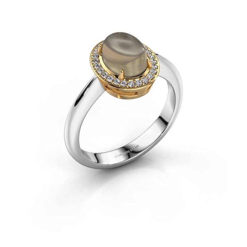 Ring Kristian 585 white gold smokey quartz 8x6 mm