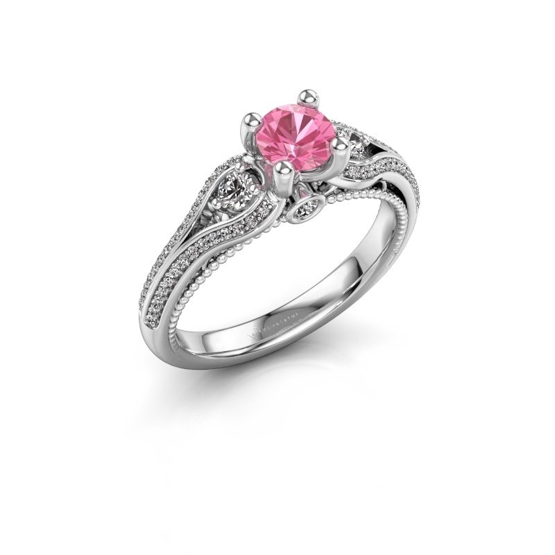 Verlovingsring Nikita 585 witgoud roze saffier 5 mm