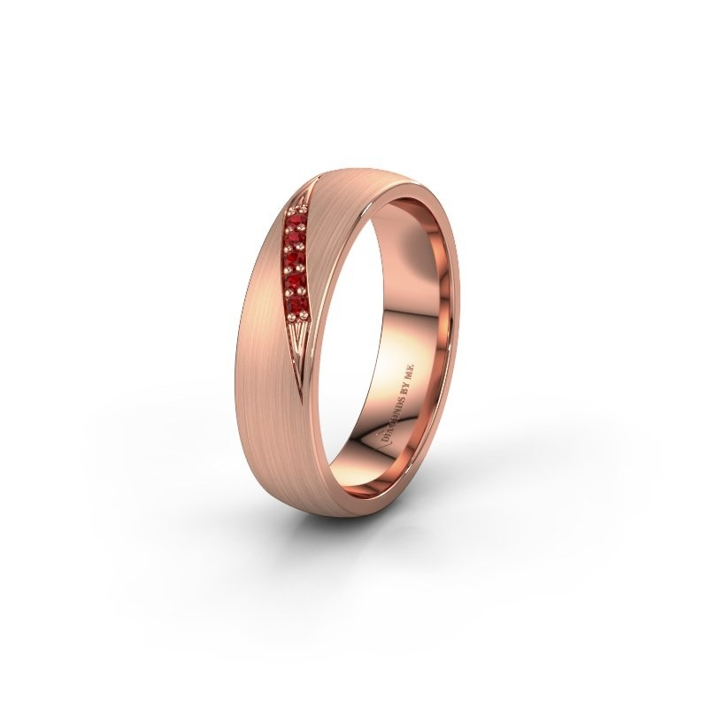 Wedding ring WH2150L25AM 375 rose gold ruby ±5x1.7 mm