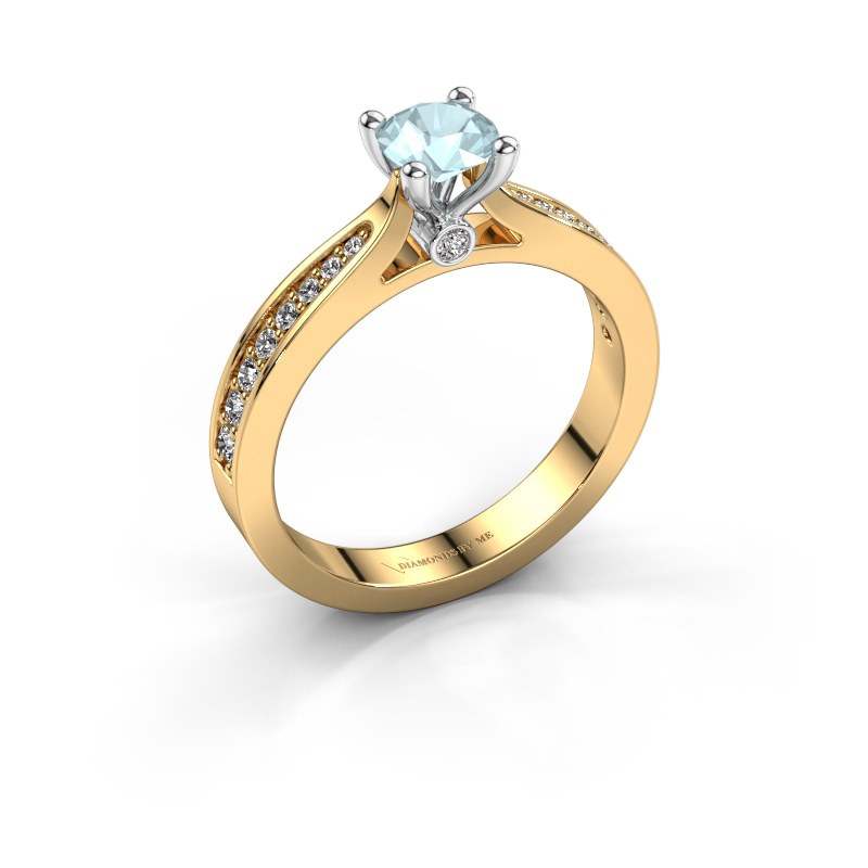 Engagement ring Evelien 585 gold aquamarine 5 mm
