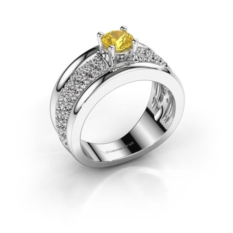 Ring Alicia 585 Weißgold Gelb Saphir 5 mm