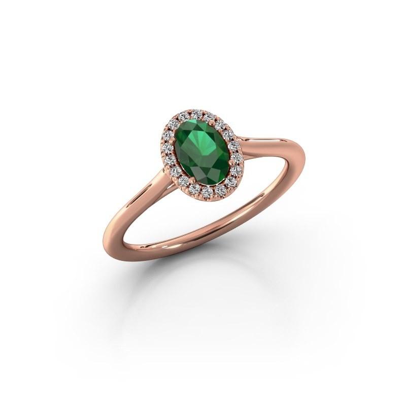 Verlobungsring Seline 1 585 Roségold Smaragd 6x4 mm