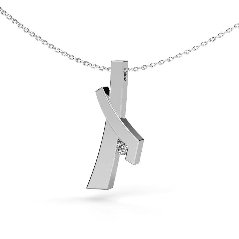 Pendentif Alyssa 585 or blanc diamant synthétique 0.08 crt