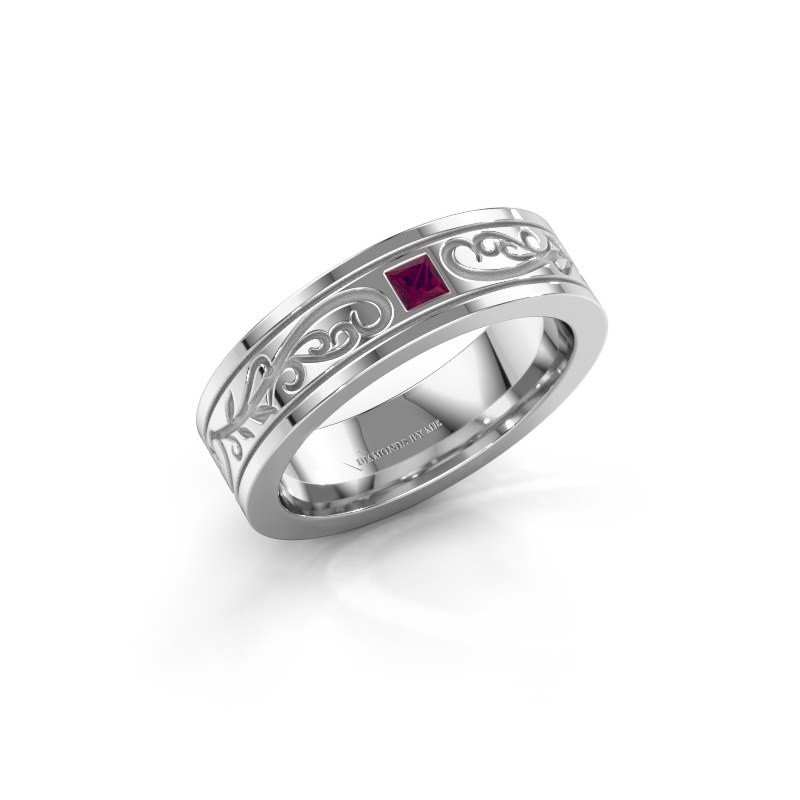 Men's ring Matijs 585 white gold rhodolite 3 mm