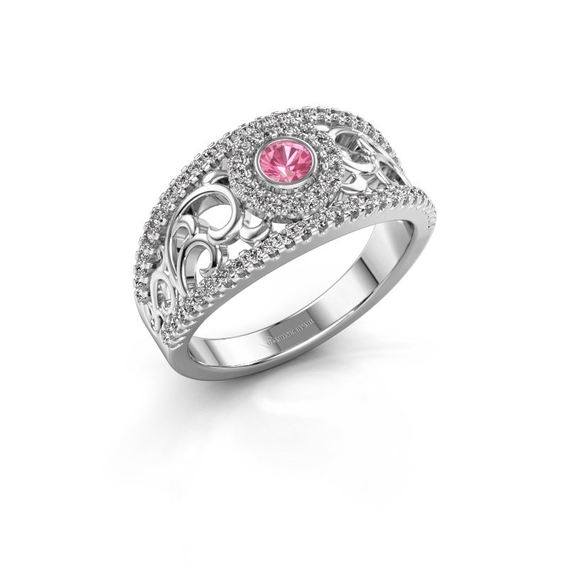 Verlovingsring Lavona 950 platina roze saffier 3.4 mm