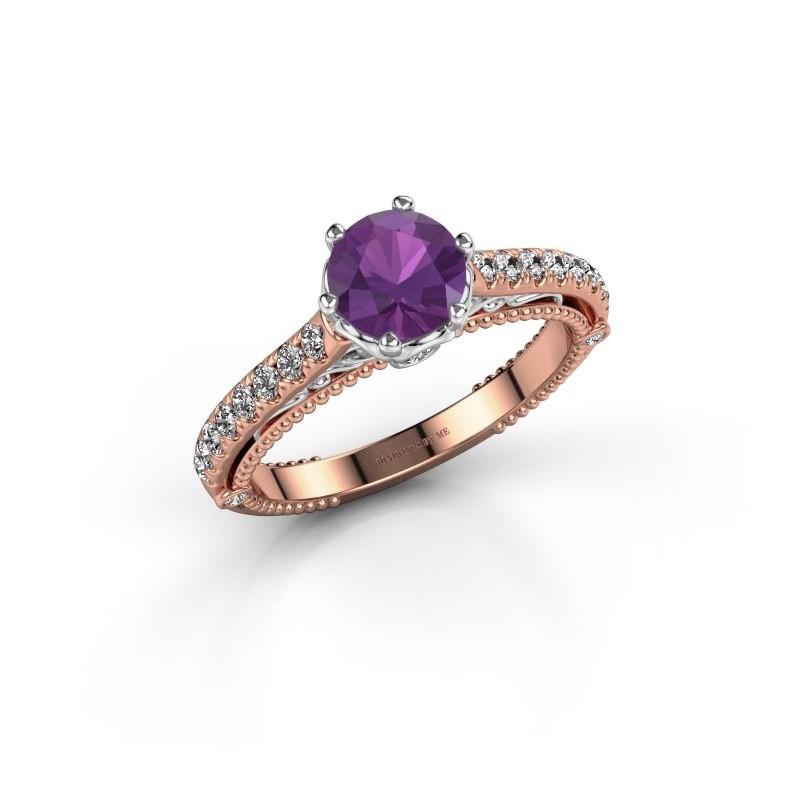 Engagement ring Venita 585 rose gold amethyst 6.5 mm