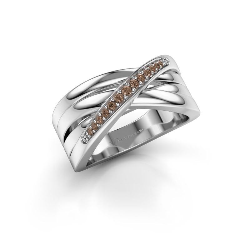 Ring Renna 2 585 witgoud bruine diamant 0.122 crt