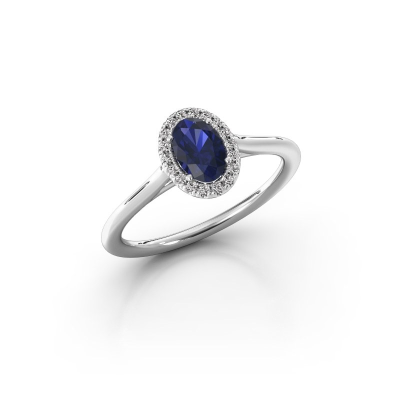 Engagement ring Seline 1 925 silver sapphire 6x4 mm