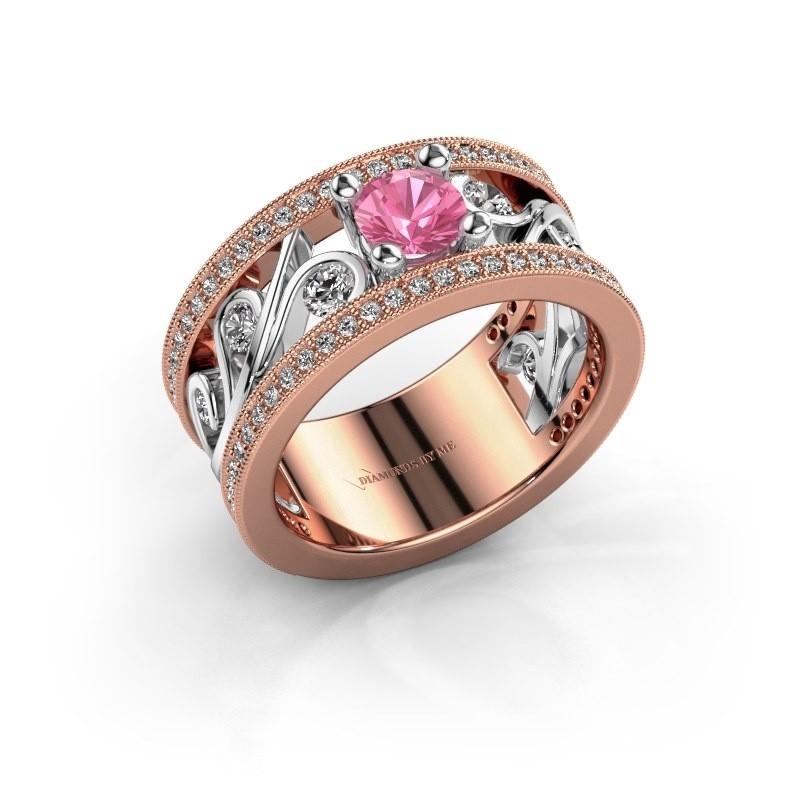 Ring Sanne 585 rosé goud roze saffier 5 mm