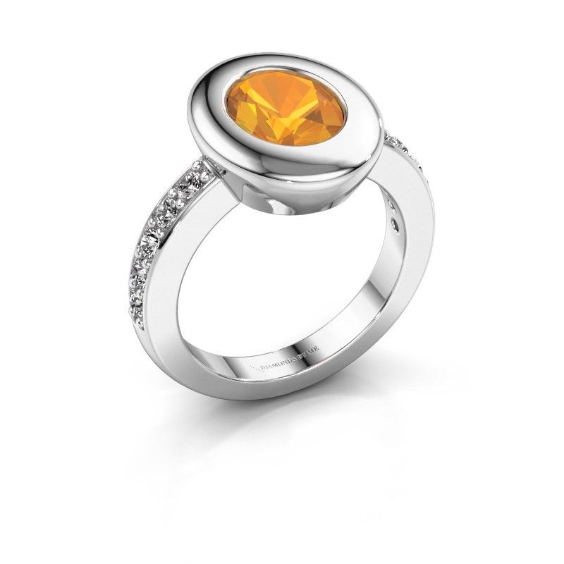 Ring Selene 2 950 platina citrien 9x7 mm