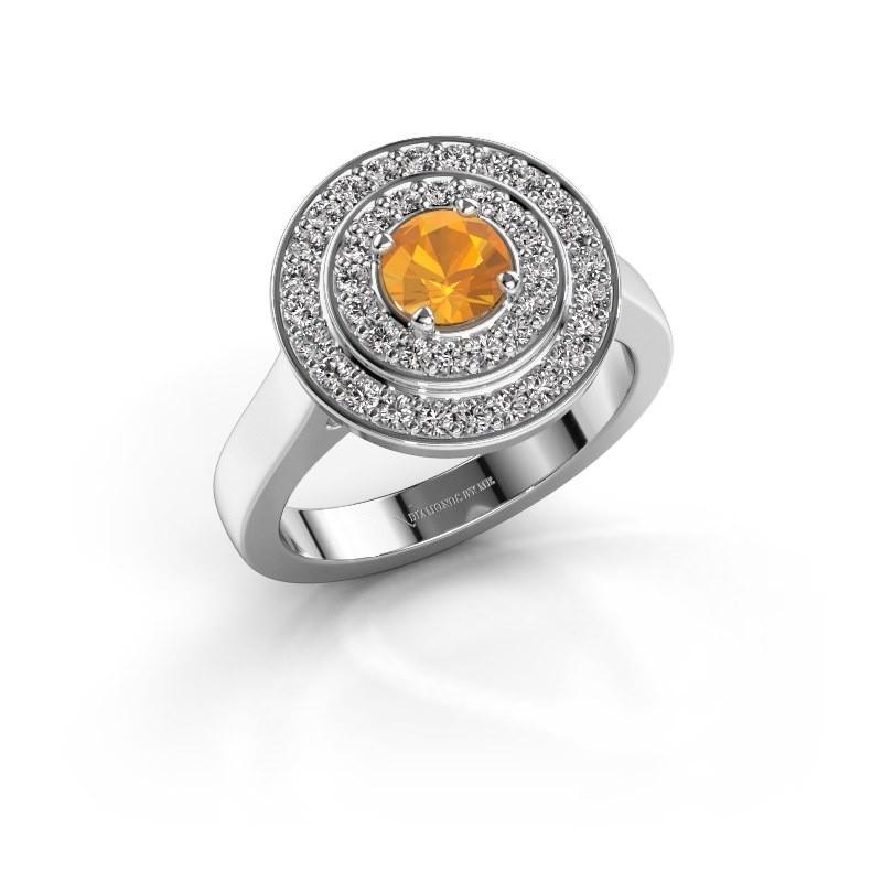 Ring Alecia 1 585 witgoud citrien 5 mm