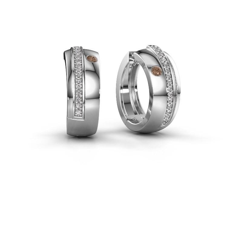 Creolen Shakita 950 platina bruine diamant 0.21 crt