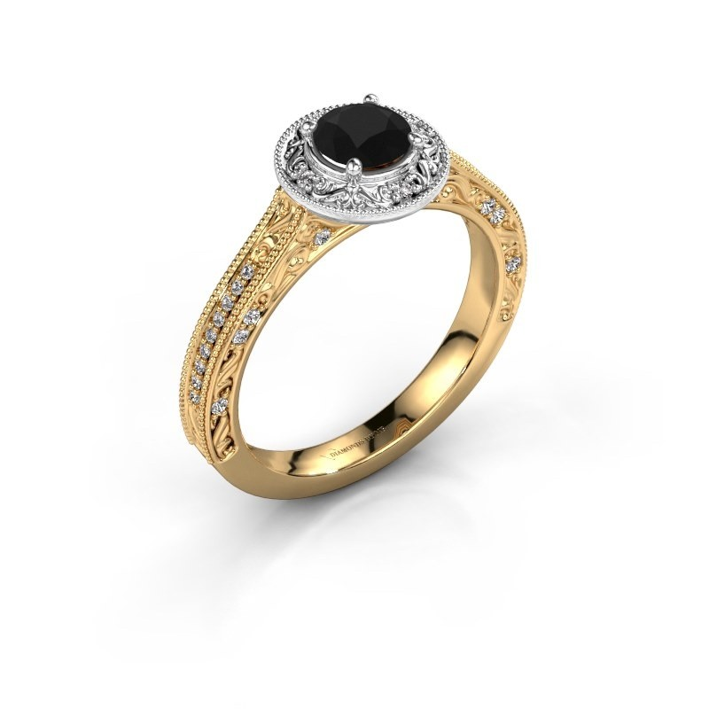 Verlovings ring Alice RND 585 goud zwarte diamant 0.70 crt