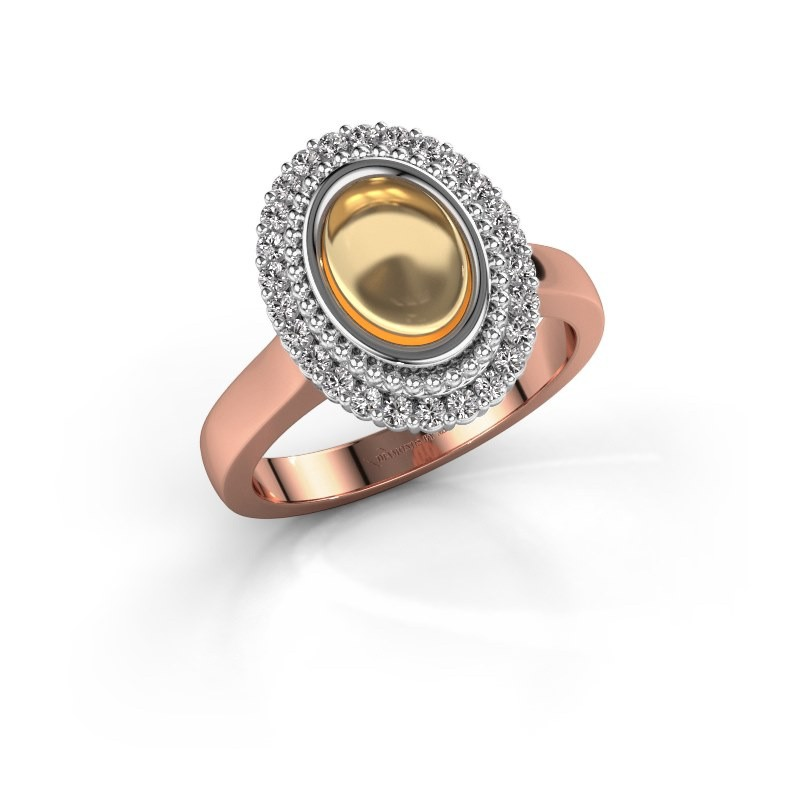 Ring Maartje 585 rosé goud citrien 8x6 mm